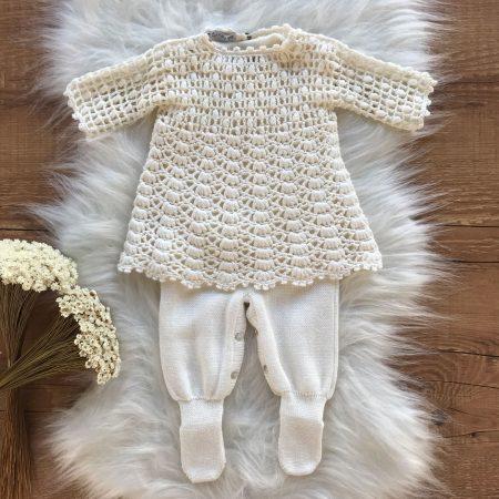 Vestido com Macacão Bebe Crochê Premium