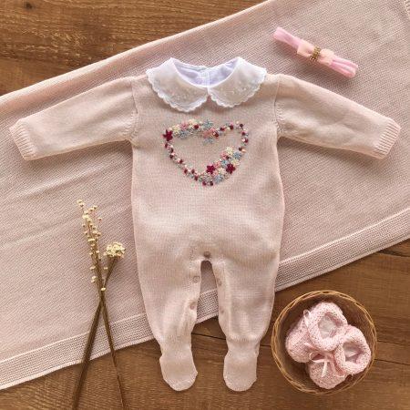 Saida Maternidade Macacão e Manta Coração Premium Branco
